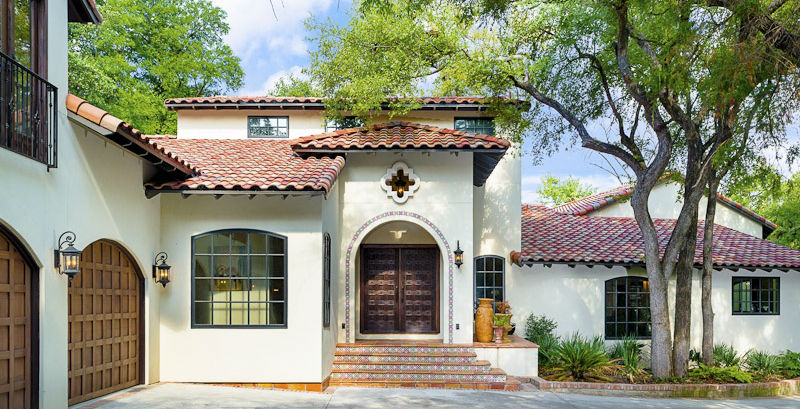 How to get that spanish stucco look for White stucco house black trim