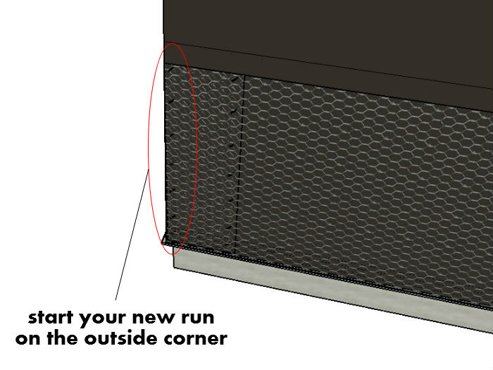 Continue Wire On Perpendicular Wall Around Corner