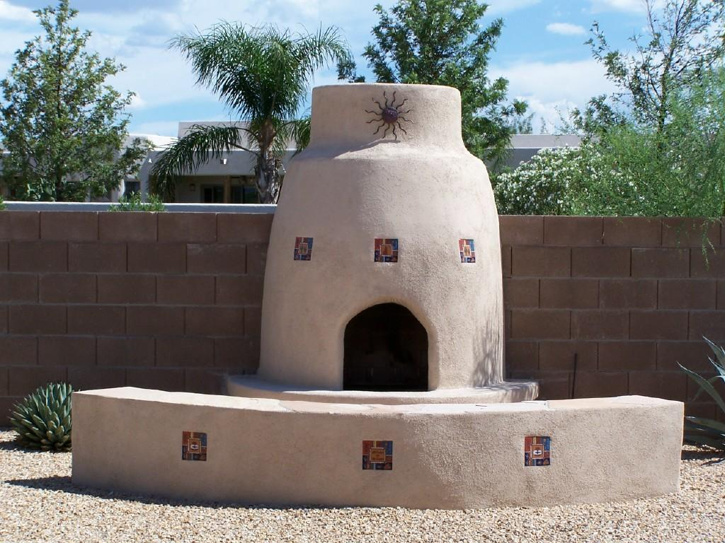 A Third Adobe Outdoor Stucco Fireplace Example