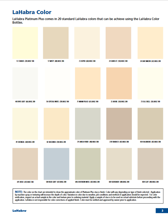 LaHabra Platinum Plus - Color Chart 3