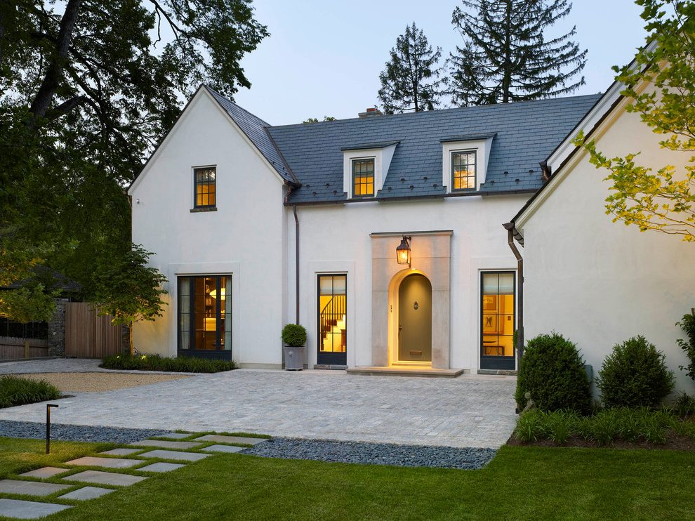 White Stucco With Dark Comp Roof
