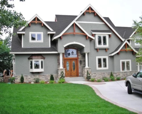 Darker Gray Color With Stone And Timbers & Darker Roof