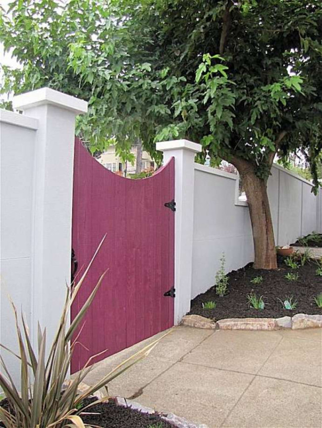 Modern Stucco Privacy Fence
