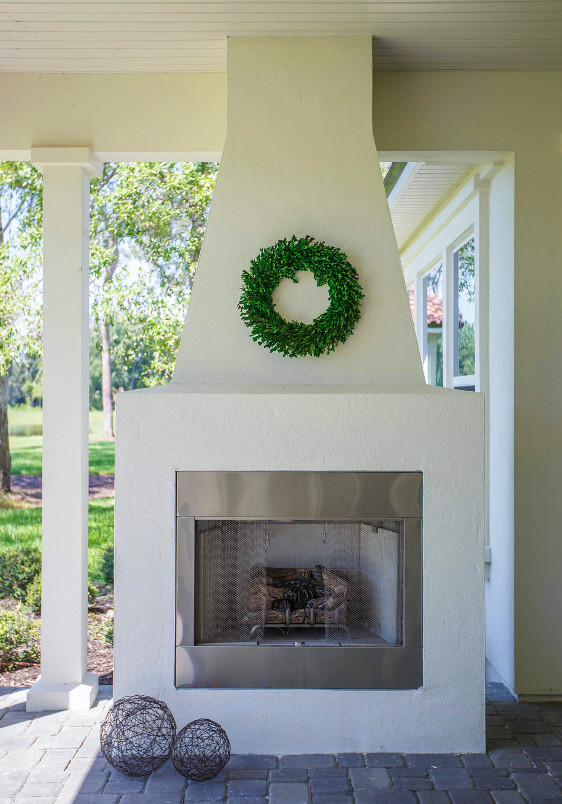 A Simple Gas Fireplace On A Back Patio