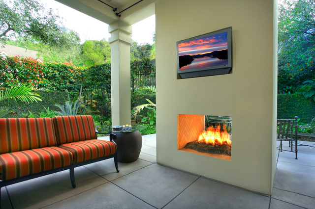 A Very Modern Double Fireplace