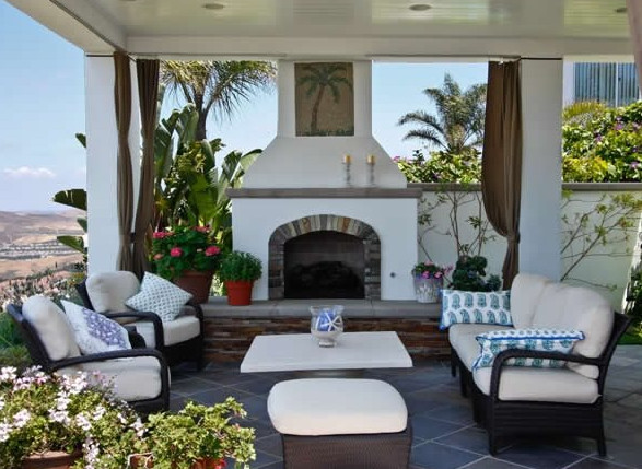 Another Sleek Gas Fireplace In A Covered Patio