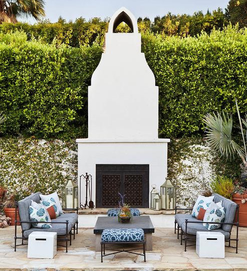 Smooth White Outdoor Fireplace