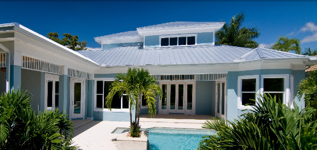 A Beautiful Light Aqua Blue Stucco Color