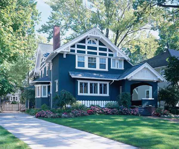 A Dark Blue Craftsman Style House