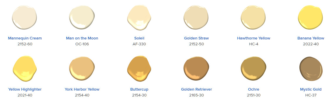 A Few Yellow Colors From Benjamin Moore
