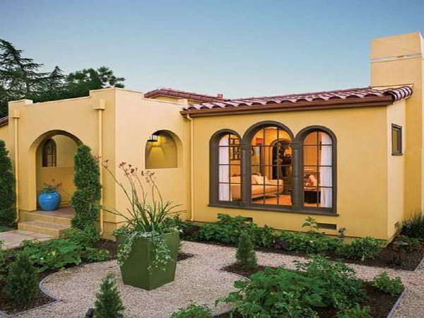 A Lighter Yellow House With A Spanish Flair