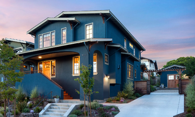 Dark Blue Painted Stucco House