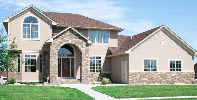 Lighter Stucco Color With Brown Bricks