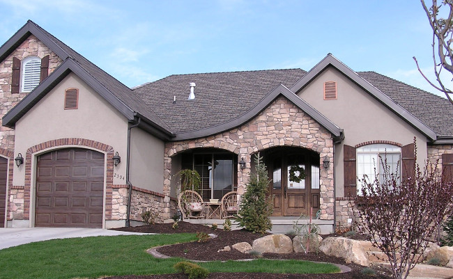 Nice House With Stucco, Stone And A Little Brick